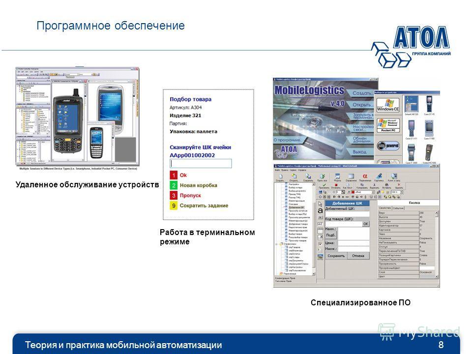 Программное обеспечение Теория и практика мобильной автоматизации8 Удаленное обслуживание устройств Специализированное ПО Работа в терминальном режиме