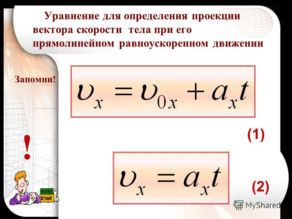 Запомни! Уравнение для определения проекции вектора скорости тела при его прямолинейном равноускоренном движении (2) !! (1)