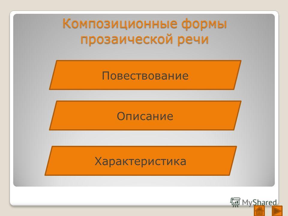 Композиционные формы прозаической речи Повествование Описание Характеристика