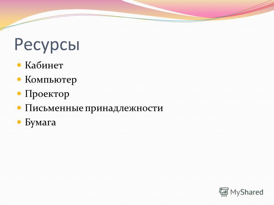 Ресурсы Кабинет Компьютер Проектор Письменные принадлежности Бумага