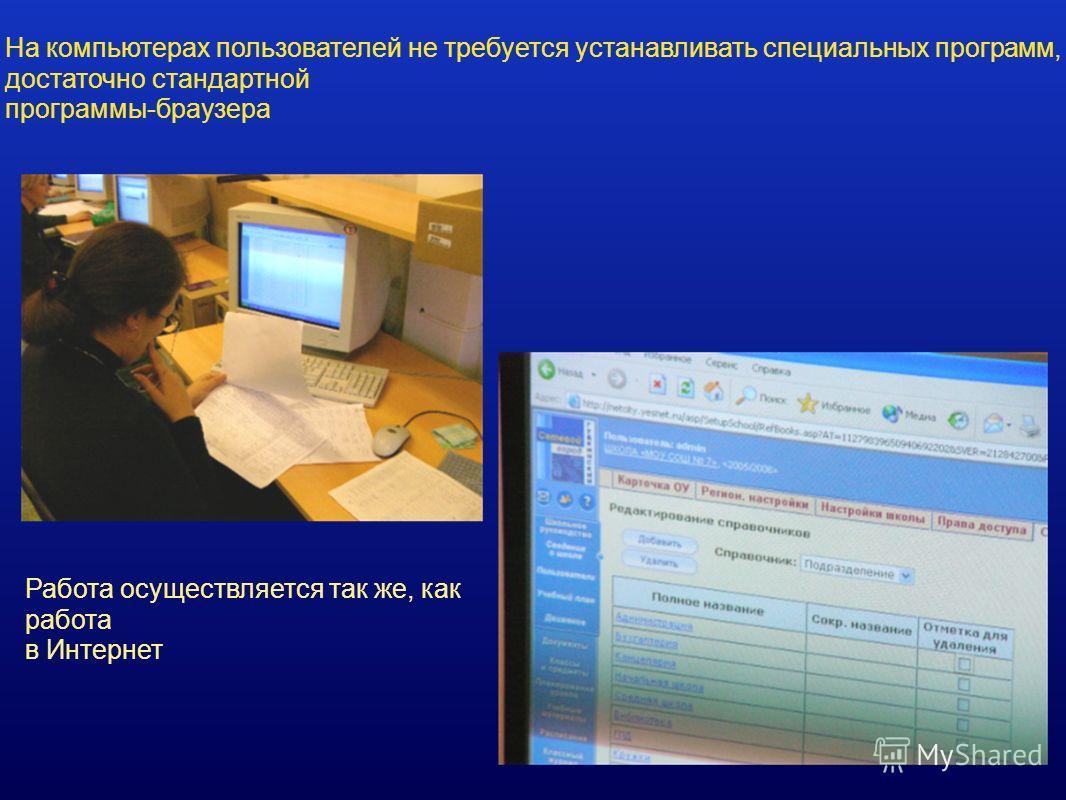 На компьютерах пользователей не требуется устанавливать специальных программ, достаточно стандартной программы-браузера Работа осуществляется так же, как работа в Интернет