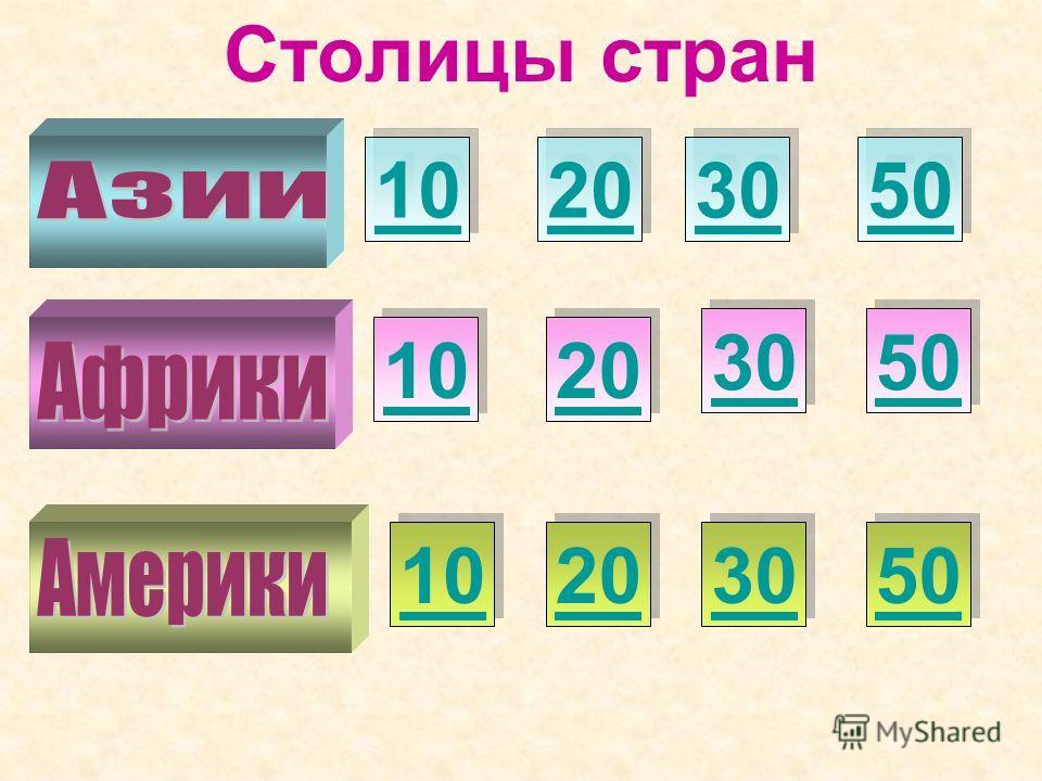 Столицы стран 10 50 20 30 20 10 30 50 20 30 50