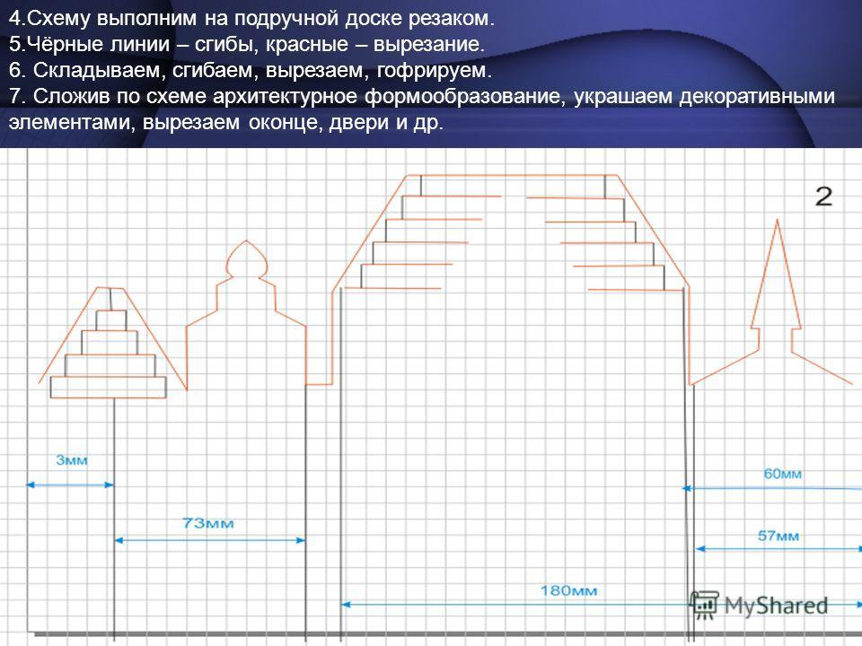 4.Схему выполним на подручной доске резаком. 5.Чёрные линии – сгибы, красные – вырезание. 6. Складываем, сгибаем, вырезаем, гофрируем. 7. Сложив по схеме архитектурное формообразование, украшаем декоративными элементами, вырезаем оконце, двери и др.