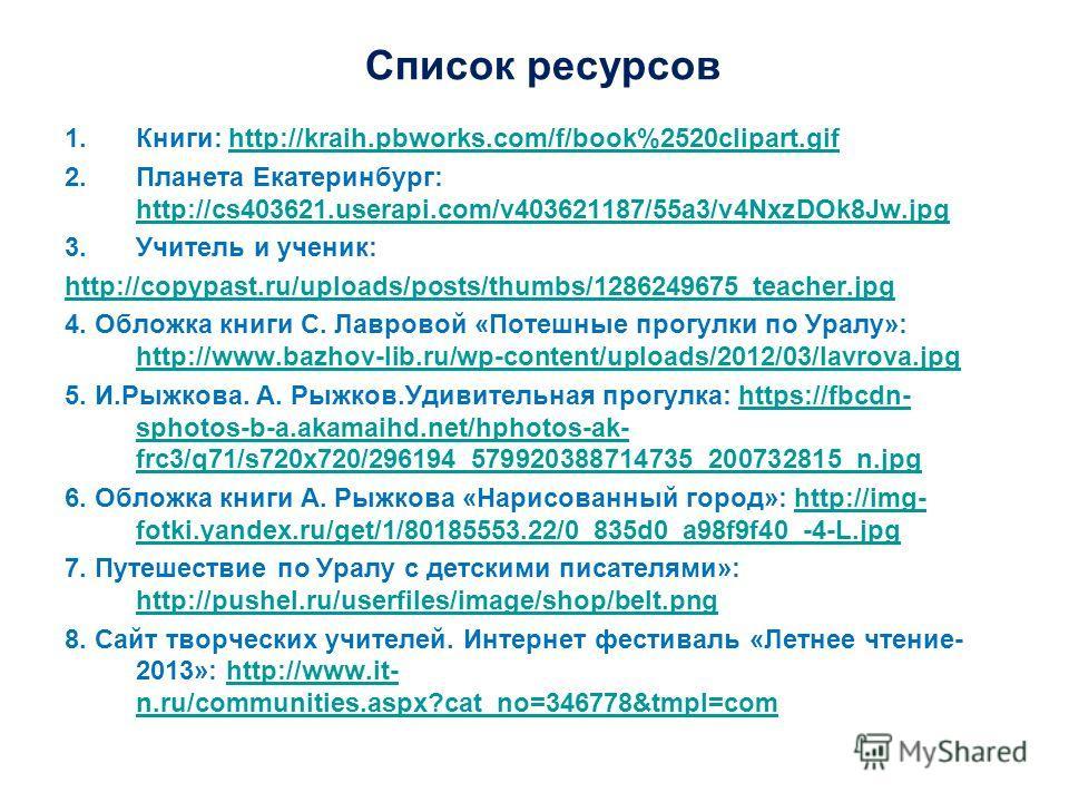 Список ресурсов 1.Книги: http://kraih.pbworks.com/f/book%2520clipart.gifhttp://kraih.pbworks.com/f/book%2520clipart.gif 2.Планета Екатеринбург: http://cs403621.userapi.com/v403621187/55a3/v4NxzDOk8Jw.jpg http://cs403621.userapi.com/v403621187/55a3/v4