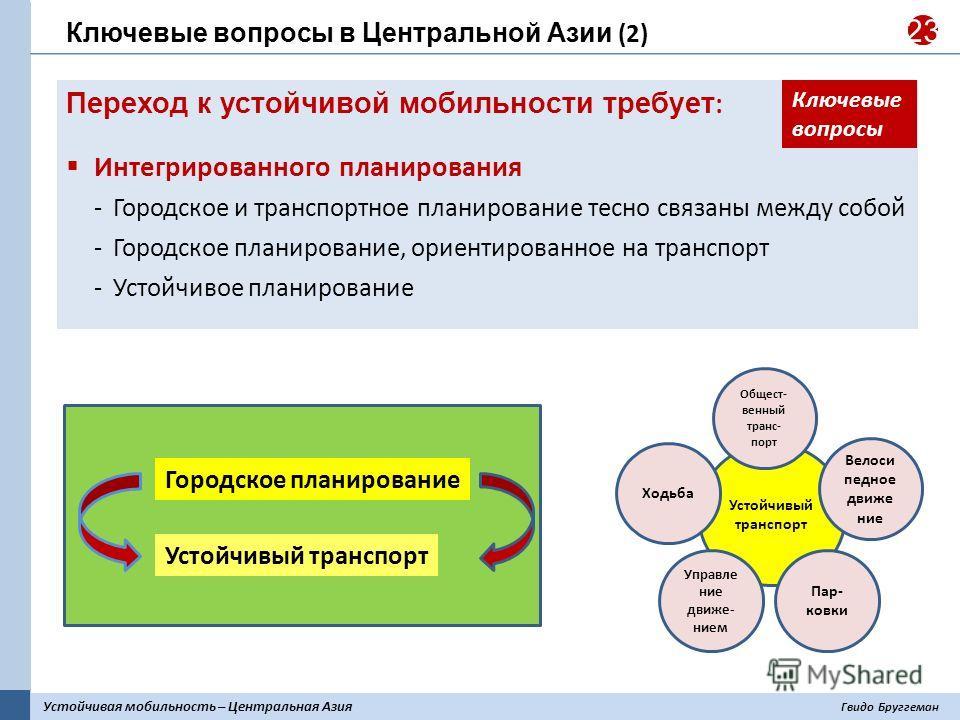 Устойчивая мобильность – Центральная Азия Гвидо Бруггеман 23 Переход к устойчивой мобильности требует : Интегрированного планирования Городское и транспортное планирование тесно связаны между собой Городское планирование, ориентированное на транспорт