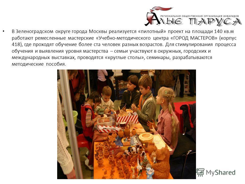 В Зеленоградском округе города Москвы реализуется «пилотный» проект на площади 140 кв.м работают ремесленные мастерские «Учебно-методического центра «ГОРОД МАСТЕРОВ» (корпус 418), где проходят обучение более ста человек разных возрастов. Для стимулир