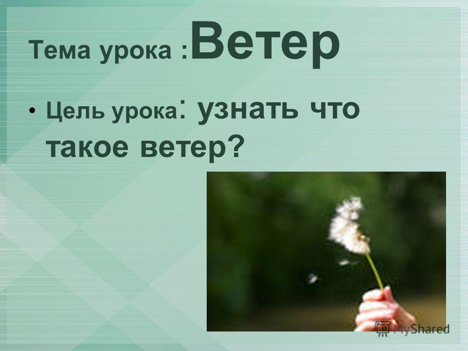 Тема урока : Ветер Цель урока : узнать что такое ветер?