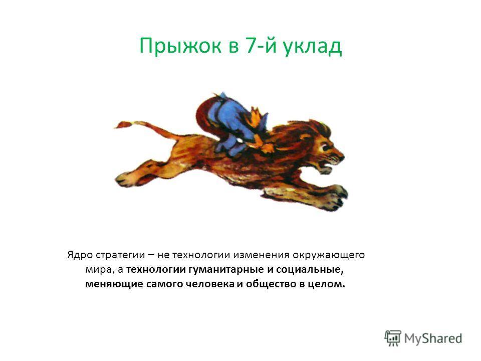 Прыжок в 7-й уклад Ядро стратегии – не технологии изменения окружающего мира, а технологии гуманитарные и социальные, меняющие самого человека и общество в целом.