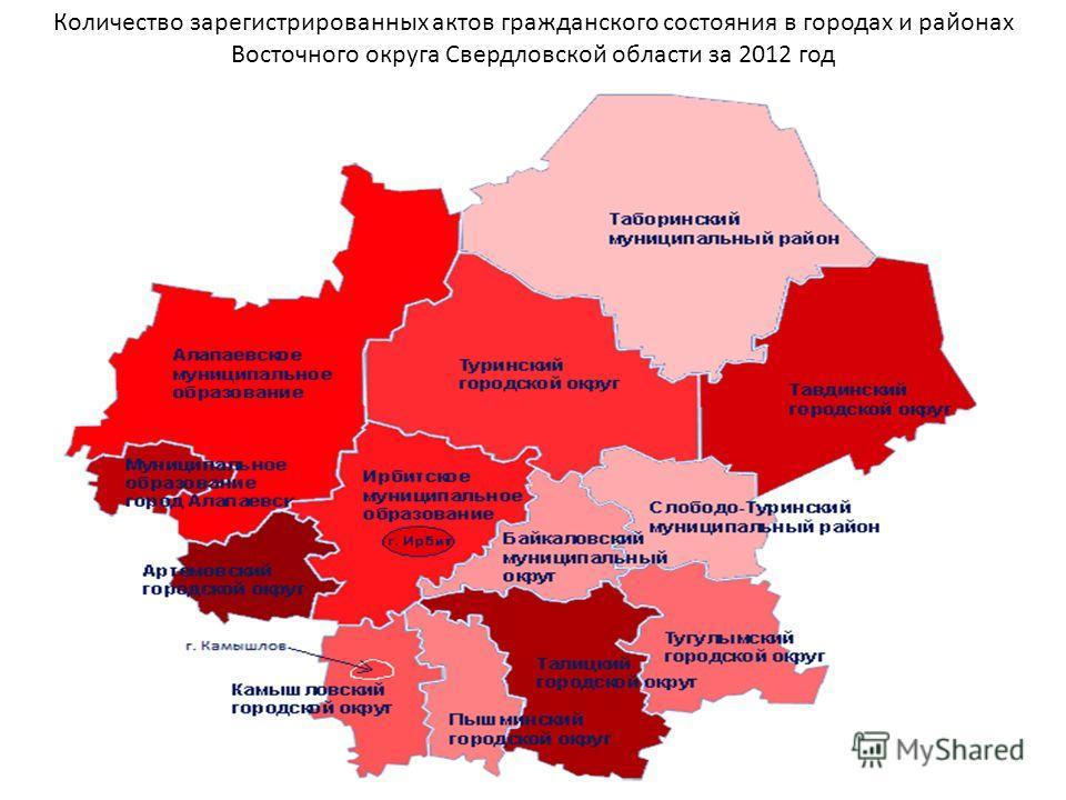 Количество зарегистрированных актов гражданского состояния в городах и районах Восточного округа Свердловской области за 2012 год
