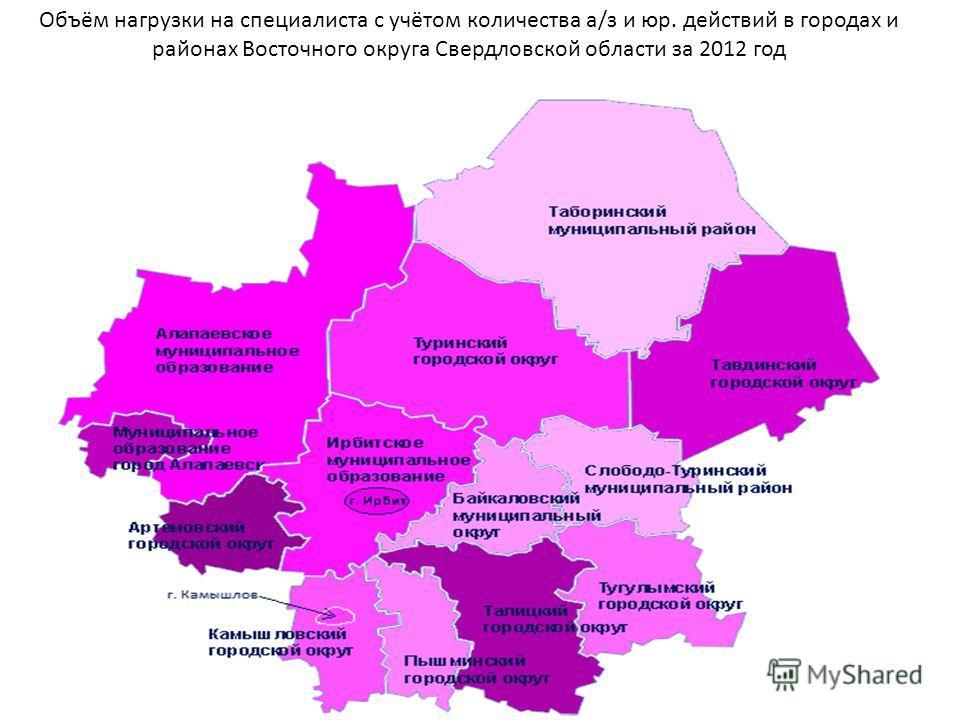 Объём нагрузки на специалиста с учётом количества а/з и юр. действий в городах и районах Восточного округа Свердловской области за 2012 год