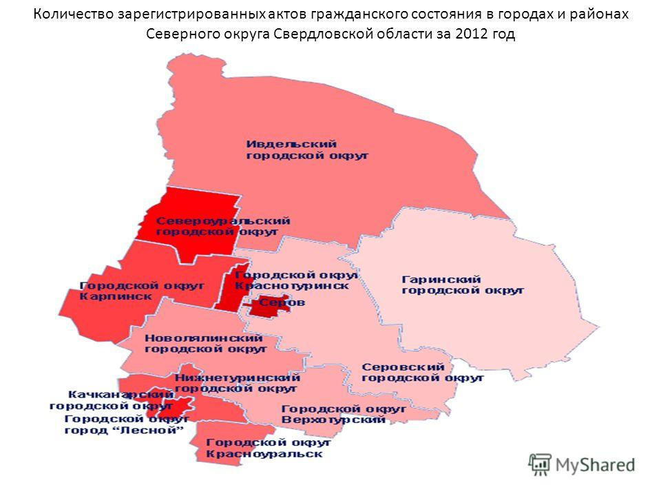 Количество зарегистрированных актов гражданского состояния в городах и районах Северного округа Свердловской области за 2012 год