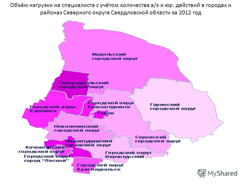 Объём нагрузки на специалиста с учётом количества а/з и юр. действий в городах и районах Северного округа Свердловской области за 2012 год