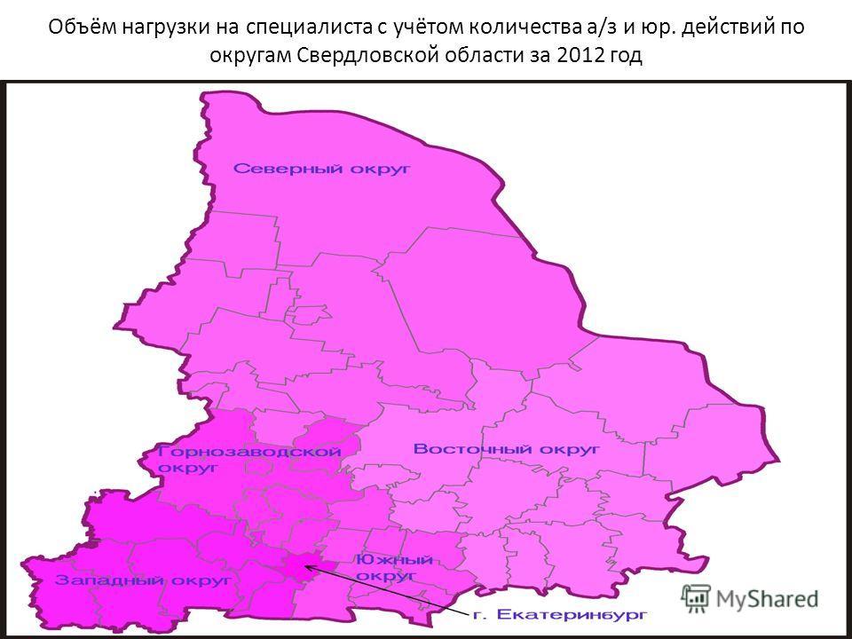 Объём нагрузки на специалиста с учётом количества а/з и юр. действий по округам Свердловской области за 2012 год