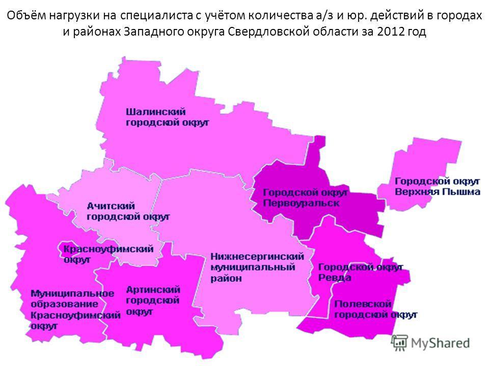 Объём нагрузки на специалиста с учётом количества а/з и юр. действий в городах и районах Западного округа Свердловской области за 2012 год
