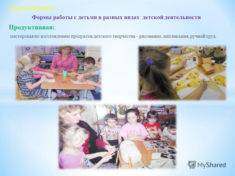 Формы работы с детьми в разных видах детской деятельности Продуктивная: мастерская по изготовлению продуктов детского творчества - рисование, аппликация, ручной труд. Технология опыта