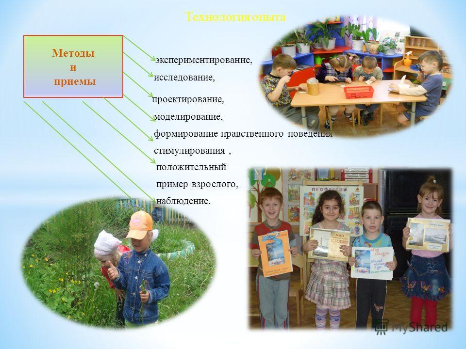 экспериментирование, исследование, проектирование, моделирование, формирование нравственного поведения стимулирования, положительный пример взрослого, наблюдение. игра. Технология опыта Методы и приемы