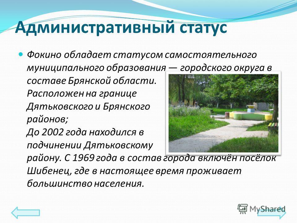 Административный статус Фокино обладает статусом самостоятельного муниципального образования городского округа в составе Брянской области. Расположен на границе Дятьковского и Брянского районов; До 2002 года находился в подчинении Дятьковскому району