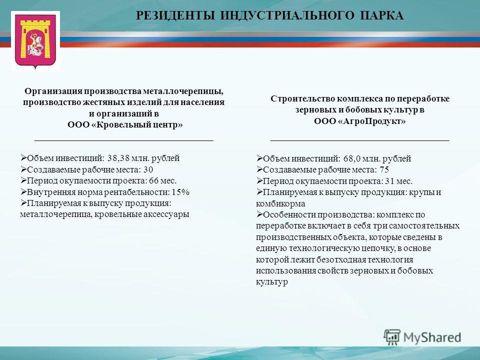 РЕЗИДЕНТЫ ИНДУСТРИАЛЬНОГО ПАРКА Организация производства металлочерепицы, производство жестяных изделий для населения и организаций в ООО «Кровельный центр» ______________________________________ Объем инвестиций: 38,38 млн. рублей Создаваемые рабочи