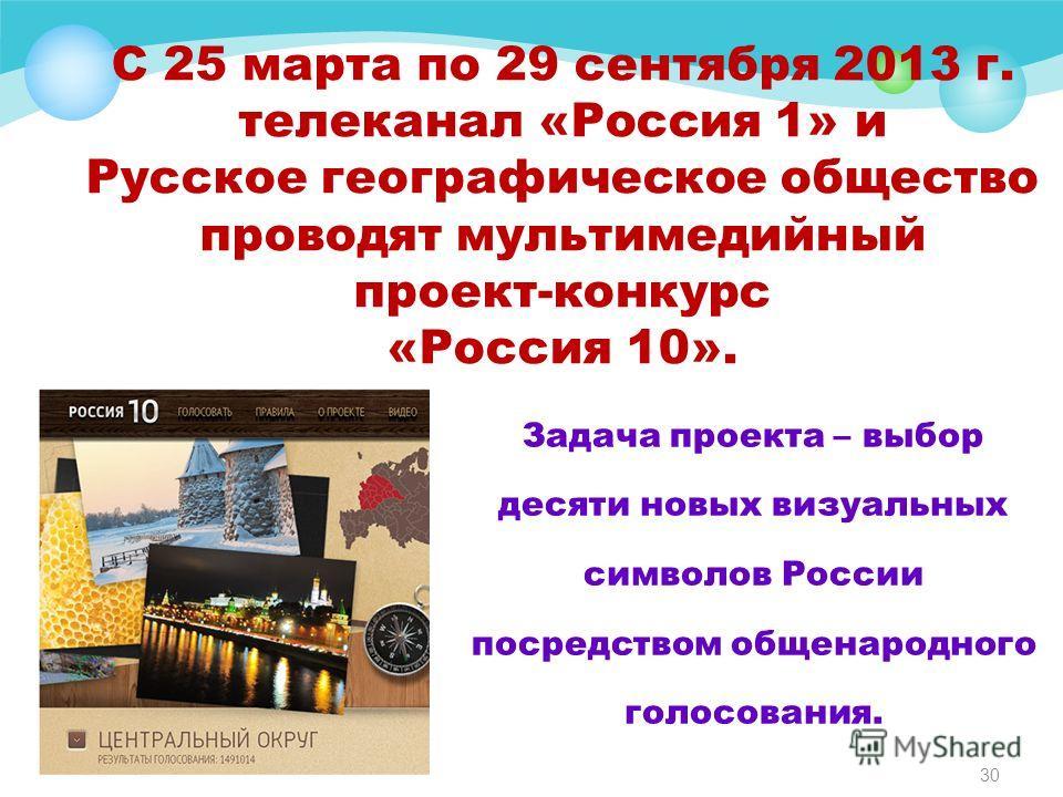 С 25 марта по 29 сентября 2013 г. телеканал «Россия 1» и Русское географическое общество проводят мультимедийный проект-конкурс «Россия 10». Задача проекта – выбор десяти новых визуальных символов России посредством общенародного голосования. 30
