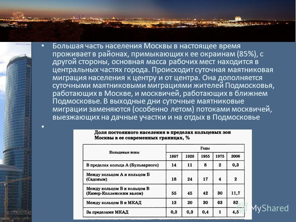Проблема! Большая часть населения Москвы в настоящее время проживает в районах, примыкающих к ее окраинам (85%), с другой стороны, основная масса рабочих мест находится в центральных частях города. Происходит суточная маятниковая миграция населения к