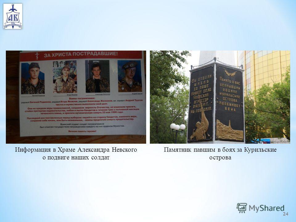 24 Информация в Храме Александра Невского о подвиге наших солдат Памятник павшим в боях за Курильские острова