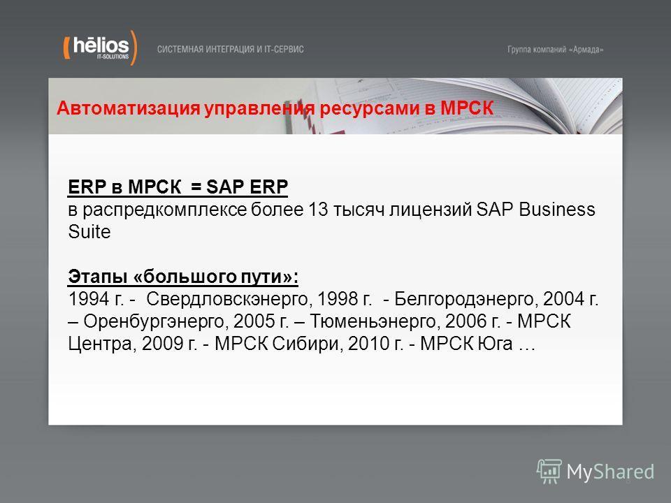 Автоматизация управления ресурсами в МРСК 8 ERP в МРСК = SAP ERP в распредкомплексе более 13 тысяч лицензий SAP Business Suite Этапы «большого пути»: 1994 г. - Свердловскэнерго, 1998 г. - Белгородэнерго, 2004 г. – Оренбургэнерго, 2005 г. – Тюменьэнер