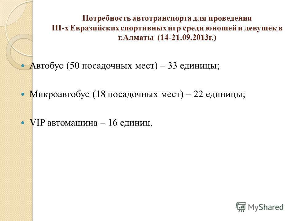 Потребность автотранспорта для проведения III-х Евразийских спортивных игр среди юношей и девушек в г.Алматы (14-21.09.2013г.) Автобус (50 посадочных мест) – 33 единицы; Микроавтобус (18 посадочных мест) – 22 единицы; VIP автомашина – 16 единиц.