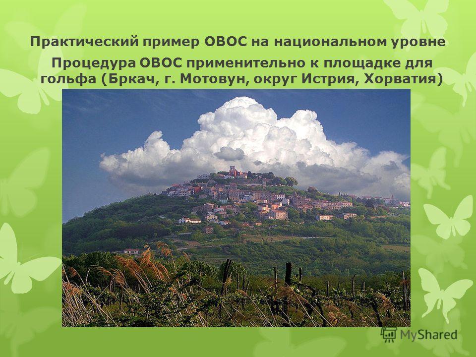 Практический пример ОВОС на национальном уровне Процедура ОВОС применительно к площадке для гольфа (Бркач, г. Мотовун, округ Истрия, Хорватия)