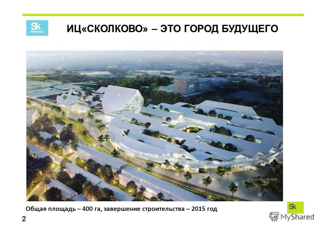 ИЦ«СКОЛКОВО» – ЭТО ГОРОД БУДУЩЕГО 2 Общая площадь – 400 га, завершение строительства – 2015 год
