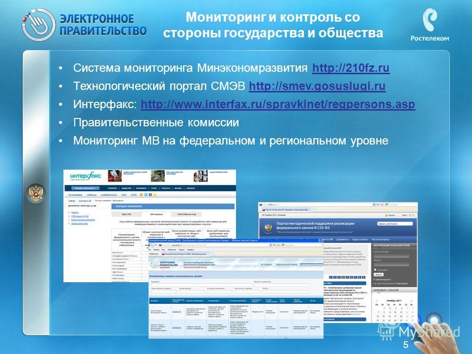 Мониторинг и контроль со стороны государства и общества Система мониторинга Минэкономразвития http://210fz.ru Технологический портал СМЭВ http://smev.gosuslugi.ru Интерфакс: http://www.interfax.ru/spravkinet/regpersons.asp Правительственные комиссии