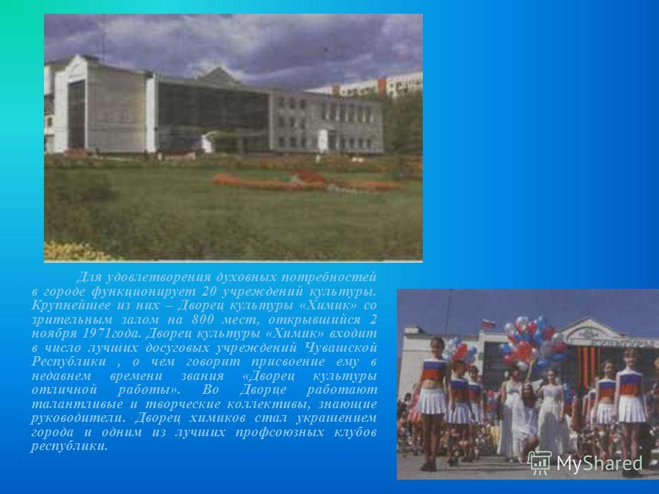 Для удовлетворения духовных потребностей в городе функционирует 20 учреждений культуры. Крупнейшее из них – Дворец культуры «Химик» со зрительным залом на 800 мест, открывшийся 2 ноября 1971года. Дворец культуры «Химик» входит в число лучших досуговы