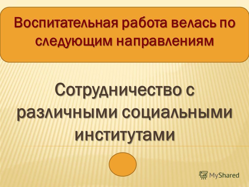 Воспитательная работа велась по следующим направлениям Сотрудничество с различными социальными институтами