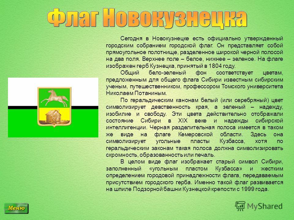 Сегодня в Новокузнецке есть официально утвержденный городским собранием городской флаг. Он представляет собой прямоугольное полотнище, разделенное широкой черной полосой на два поля. Верхнее поле – белое, нижнее – зеленое. На флаге изображен герб Куз