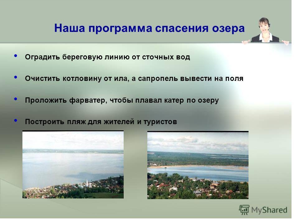 Наша программа спасения озера Оградить береговую линию от сточных вод Очистить котловину от ила, а сапропель вывести на поля Проложить фарватер, чтобы плавал катер по озеру Построить пляж для жителей и туристов