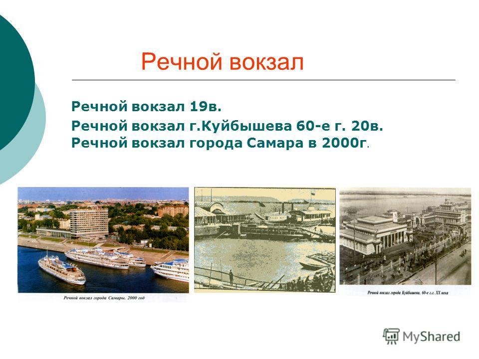 Речной вокзал Речной вокзал 19в. Речной вокзал г.Куйбышева 60-е г. 20в. Речной вокзал города Самара в 2000г.