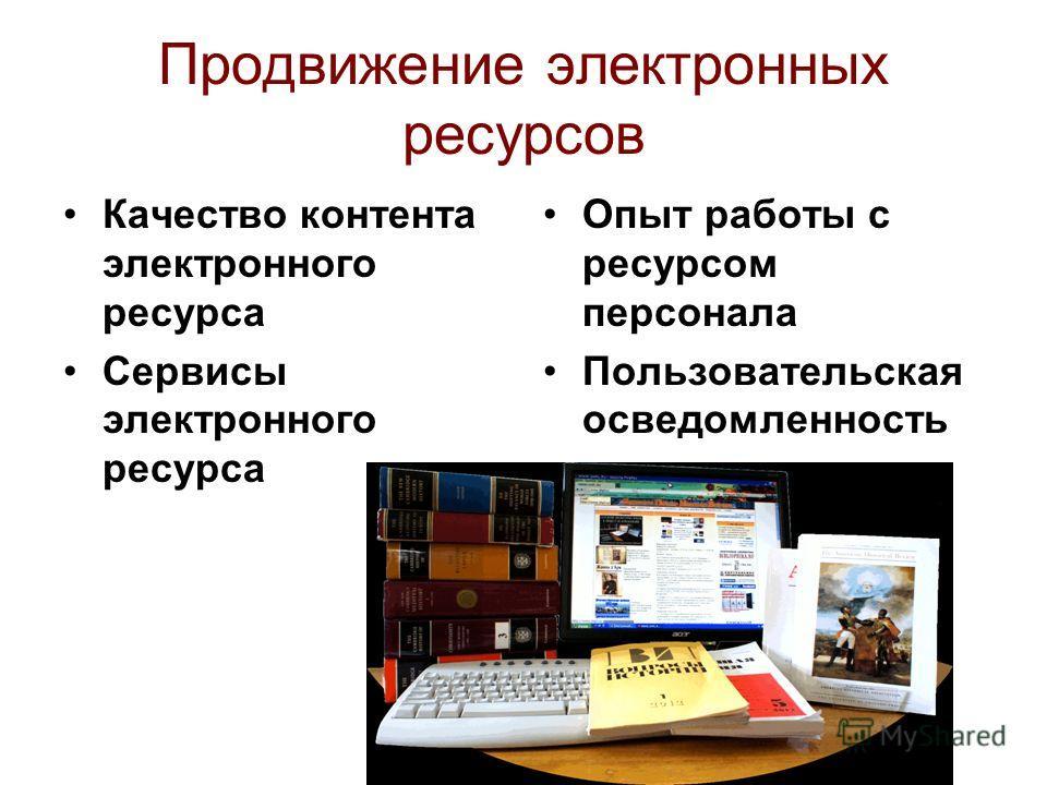 Продвижение электронных ресурсов Качество контента электронного ресурса Сервисы электронного ресурса Опыт работы с ресурсом персонала Пользовательская осведомленность