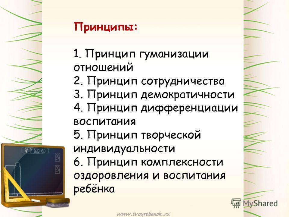 Принципы: 1. Принцип гуманизации отношений 2. Принцип сотрудничества 3. Принцип демократичности 4. Принцип дифференциации воспитания 5. Принцип творческой индивидуальности 6. Принцип комплексности оздоровления и воспитания ребёнка