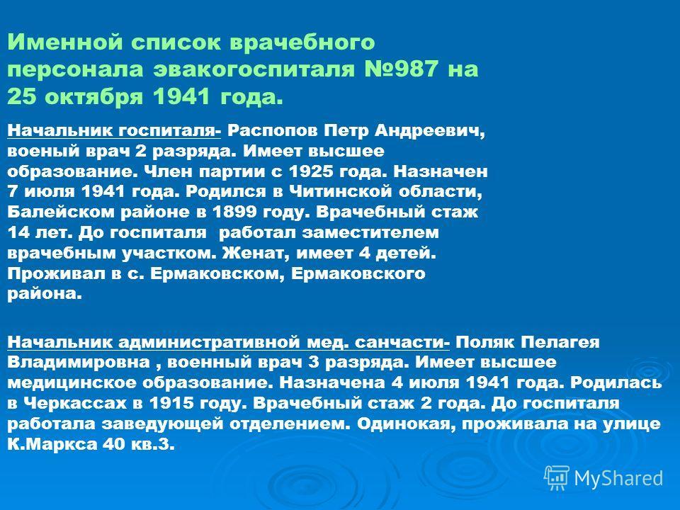 Именной список врачебного персонала эвакогоспиталя 987 на 25 октября 1941 года. Начальник госпиталя- Распопов Петр Андреевич, военый врач 2 разряда. Имеет высшее образование. Член партии с 1925 года. Назначен 7 июля 1941 года. Родился в Читинской обл