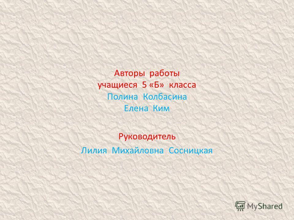 Авторы работы учащиеся 5 «Б» класса Полина Колбасина Елена Ким Руководитель Лилия Михайловна Сосницкая