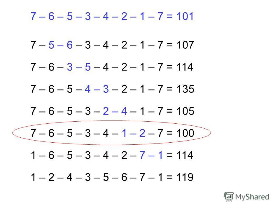 7 – 5 – 6 – 3 – 4 – 2 – 1 – 7 = 107 7 – 6 – 3 – 5 – 4 – 2 – 1 – 7 = 114 7 – 6 – 5 – 4 – 3 – 2 – 1 – 7 = 135 7 – 6 – 5 – 3 – 2 – 4 – 1 – 7 = 105 7 – 6 – 5 – 3 – 4 – 1 – 2 – 7 = 100 1 – 6 – 5 – 3 – 4 – 2 – 7 – 1 = 114 1 – 2 – 4 – 3 – 5 – 6 – 7 – 1 = 11