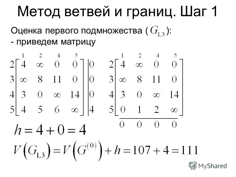 Метод ветвей и границ. Шаг 1 Оценка первого подмножества ( ): - приведем матрицу