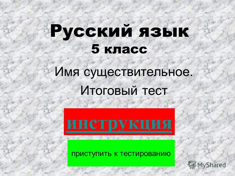 Русский язык 5 класс Имя существительное. Итоговый тест приступить к тестированию инструкция