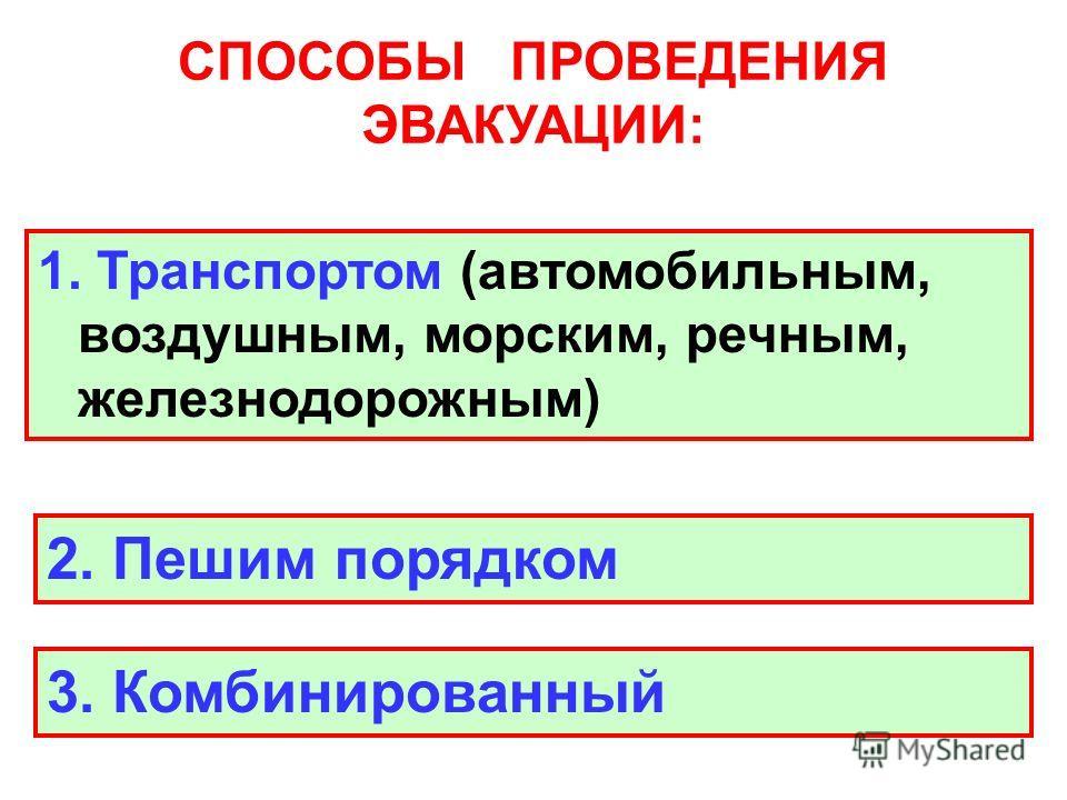 СПОСОБЫ ПРОВЕДЕНИЯ ЭВАКУАЦИИ: 1. Транспортом (автомобильным, воздушным, морским, речным, железнодорожным) 2. Пешим порядком 3. Комбинированный