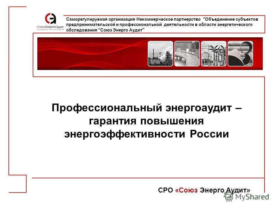 Профессиональный энергоаудит – гарантия повышения энергоэффективности России СРО «Союз Энерго Аудит» Саморегулируемая организация Некоммерческое партнерство
