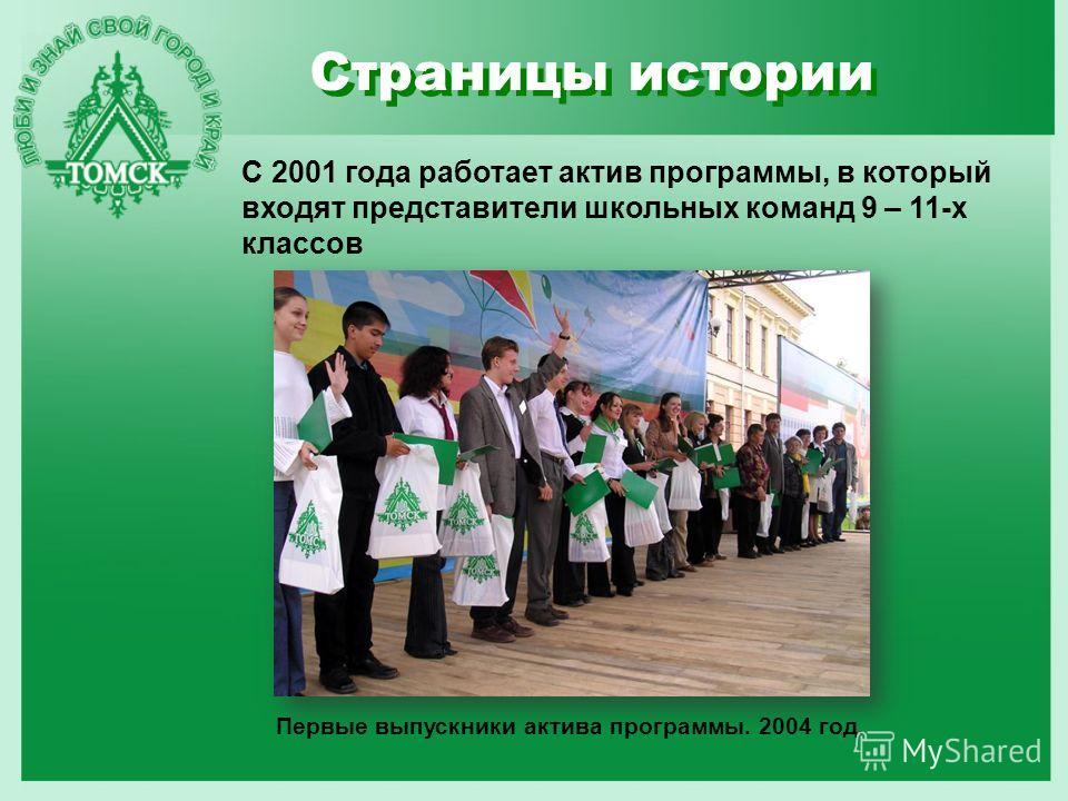 Страницы истории С 2001 года работает актив программы, в который входят представители школьных команд 9 – 11-х классов Первые выпускники актива программы. 2004 год.
