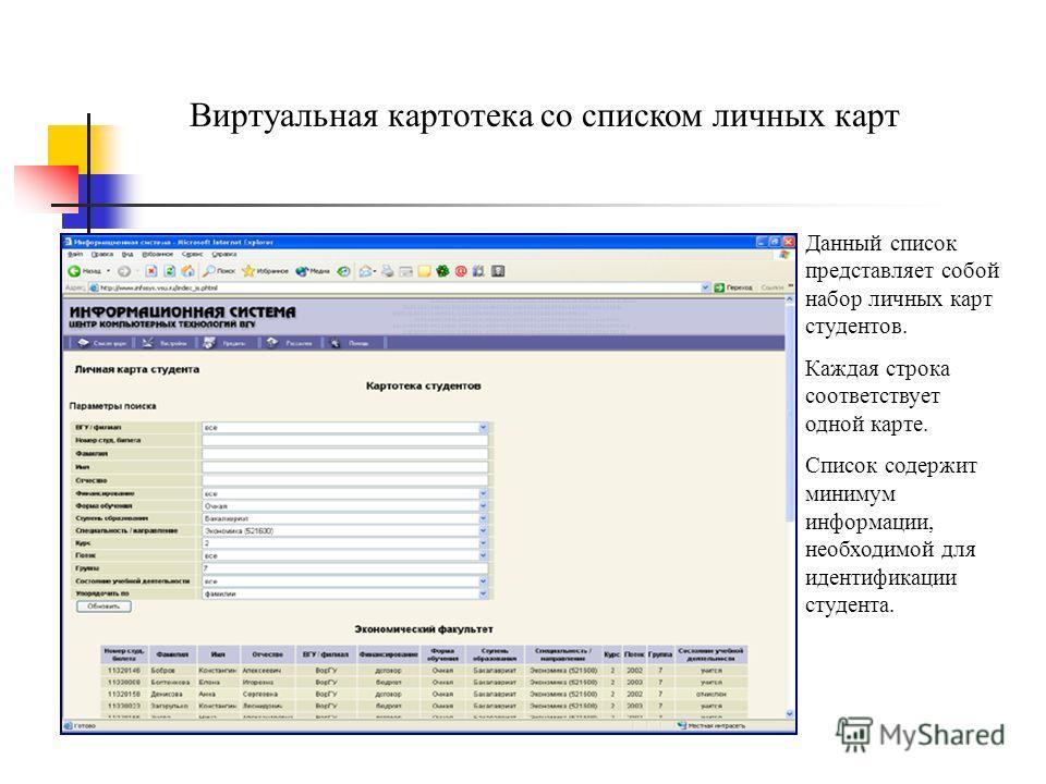 Виртуальная картотека со списком личных карт Данный список представляет собой набор личных карт студентов. Каждая строка соответствует одной карте. Список содержит минимум информации, необходимой для идентификации студента.