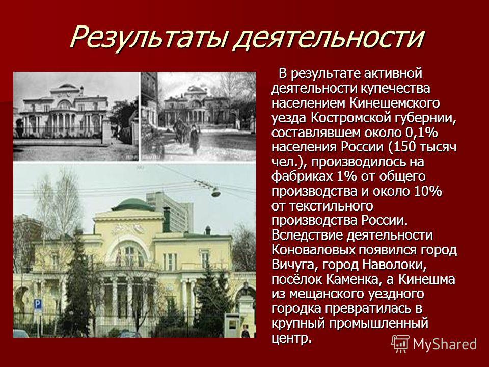 Результаты деятельности В результате активной деятельности купечества населением Кинешемского уезда Костромской губернии, составлявшем около 0,1% населения России (150 тысяч чел.), производилось на фабриках 1% от общего производства и около 10% от те