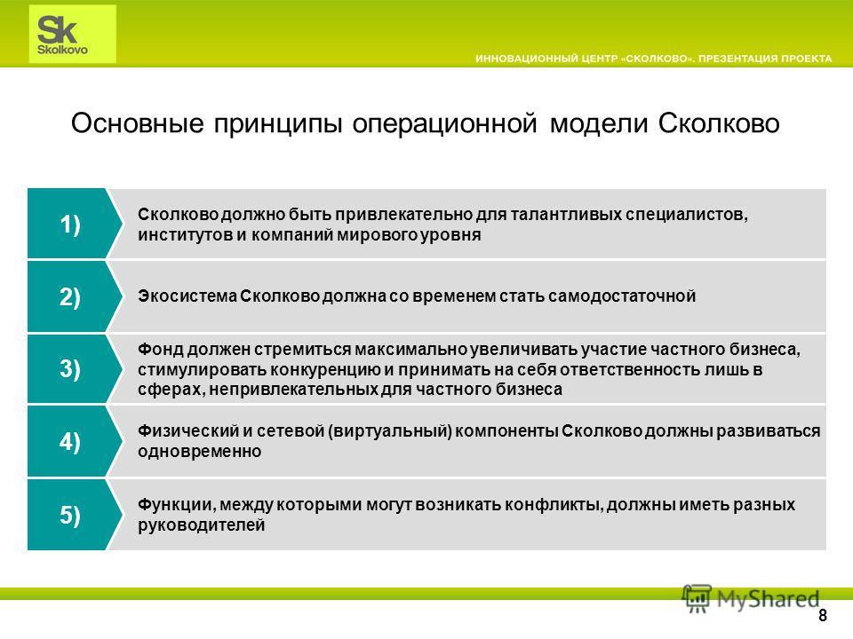 8 Основные принципы операционной модели Сколково Сколково должно быть привлекательно для талантливых специалистов, институтов и компаний мирового уровня 1) Функции, между которыми могут возникать конфликты, должны иметь разных руководителей Фонд долж
