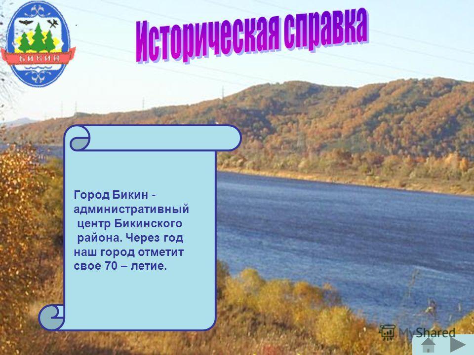 Город Бикин - административный центр Бикинского района. Через год наш город отметит свое 70 – летие.