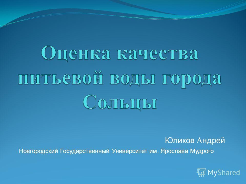 Юликов А ндрей Новгородский Государственный Университет им. Ярослава Мудрого